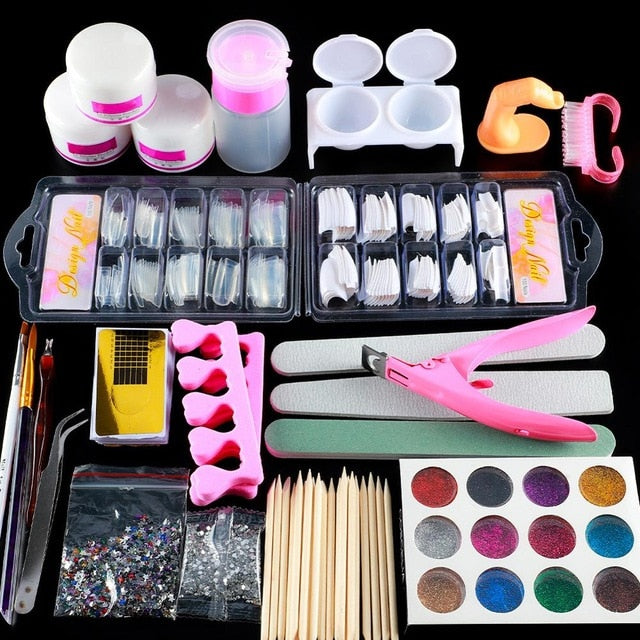 COSCELIA Acrylic Nail Kit With Lamp All For Manicure Gel Nail Kit Professional Set Tools For Manicure Nail Art Decorations