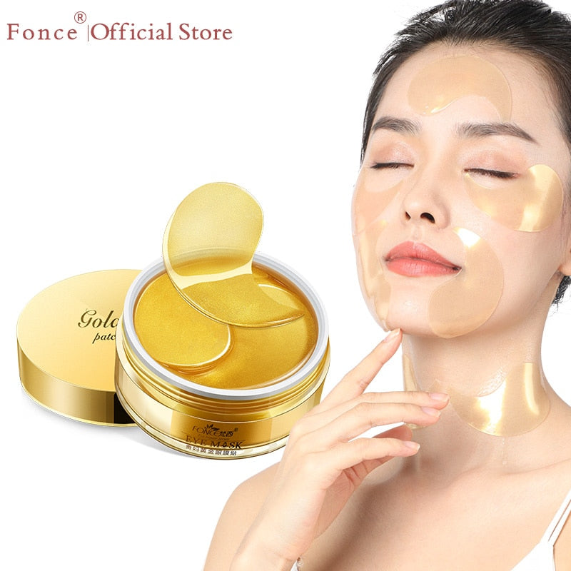 Fonce 24K Gold Crystal Collagen Gel Eye patches mask Ageless Sleep Mask Remover Wrinkle Anti Age Bag Eye Treatment Dark Circles