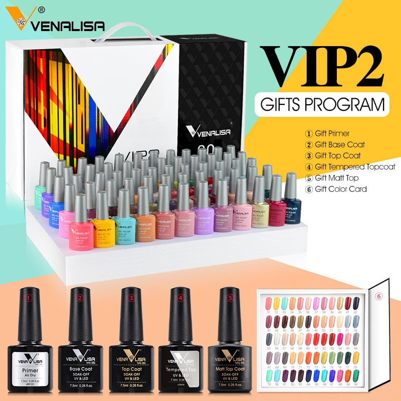 Fast delivery Venalisa VIP2 gel nail polish set new 60 colors nail polish uv gel basecoat primer topcoat color book full set