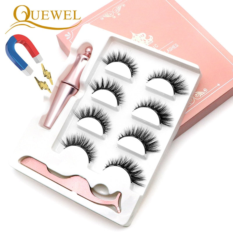 Quewel Magnetic Eyelashes Eyeliner Set 25mm False Eyelash & Magnetic Eyeliner & Tweezers 4 Pairs/Box Convenient Long Makeup Kit