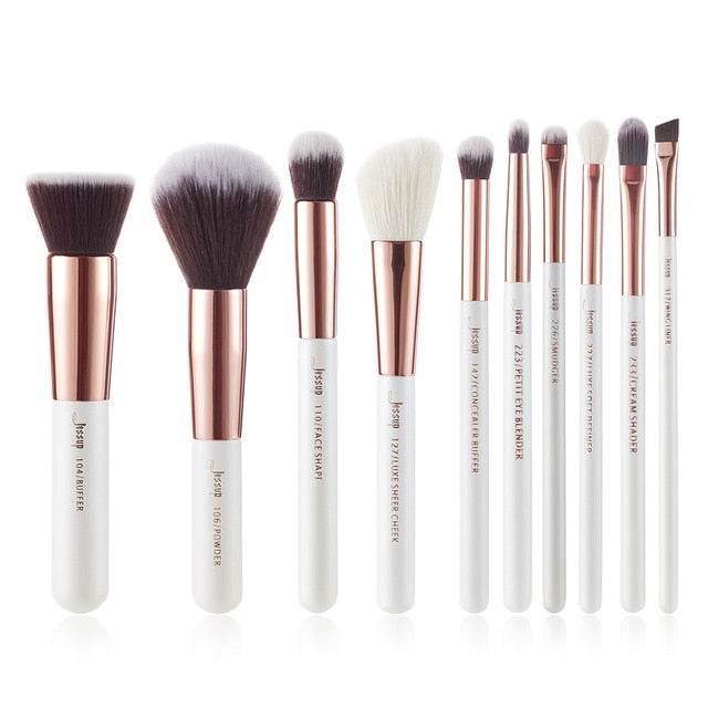 Jessup Makeup brushes set 6-25pcs Pearl White / Rose Gold Professional Make up brush Natural hair Foundation Powder Blushes