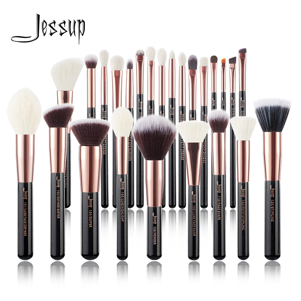 Jessup Makeup brushes set Rose Gold / Black Foundation Powder Eyeshadow Make up Brush 6pcs-25pcs