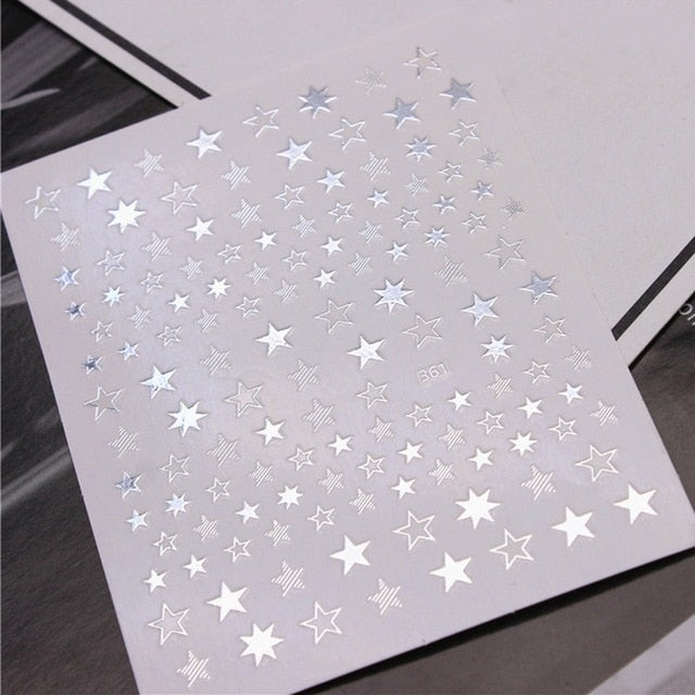 3D Star Nail Sticker DIY Self-adhesive Nail Decal Hollow Ultra-thin Nail Glitter Shining Lasting Nail Art Sticker Manicure Decor