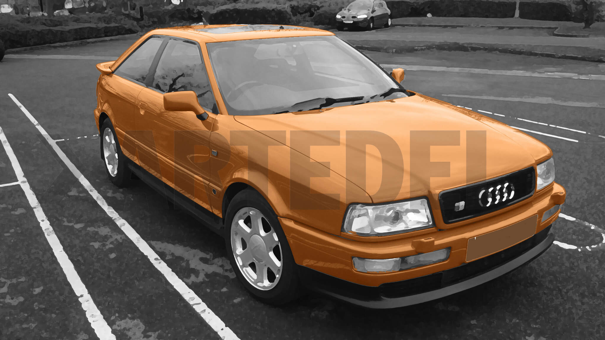 Gemälde Audi  Coupe orange