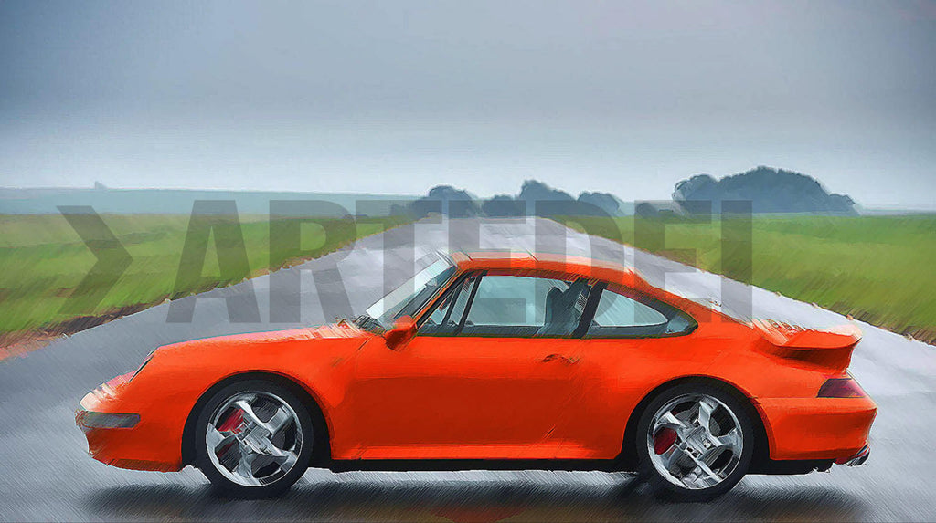 Kunstwerk Porsche 911 993 Turbo orange der Kunstserie Porsche 911 993 Turbo orange des Künstlers Bob Redeir