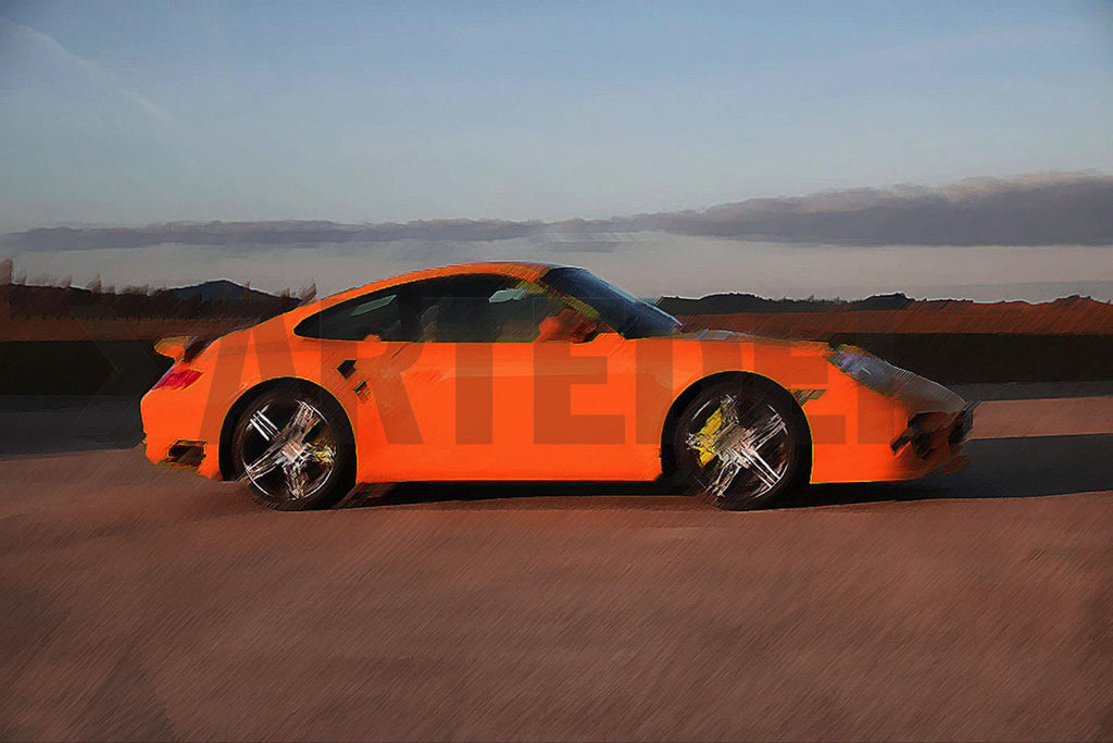 Kunstwerk Porsche 911 997 Turbo orange der Kunstserie Porsche 911 997 Turbo orange des Künstlers Bob Redeir