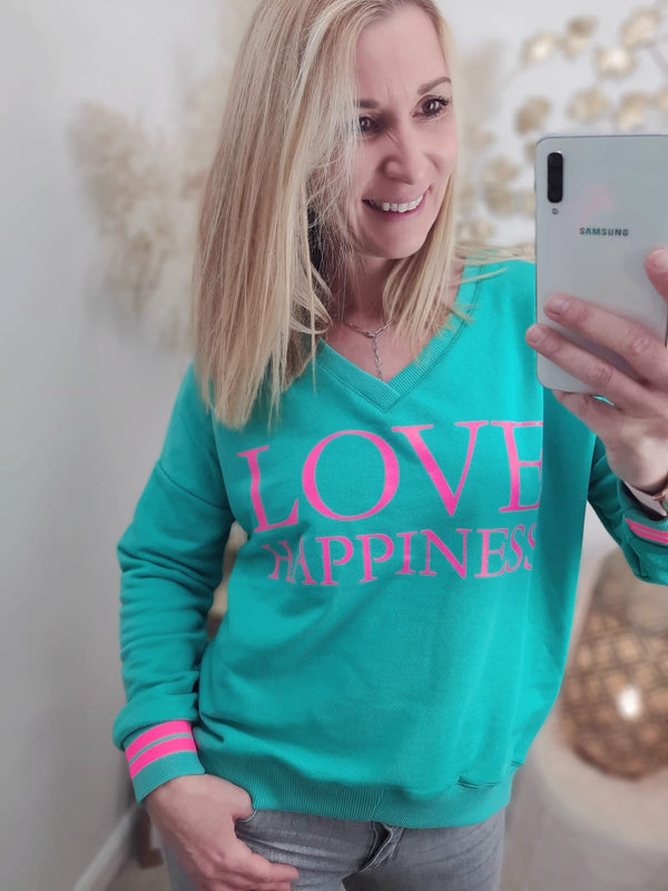 "Sweatshirt V-Neck ""Love Happiness"" türkis / pink"