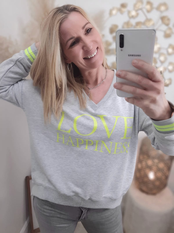 "Sweatshirt V-Neck ""Love Happiness"" · grau / neon gelb"