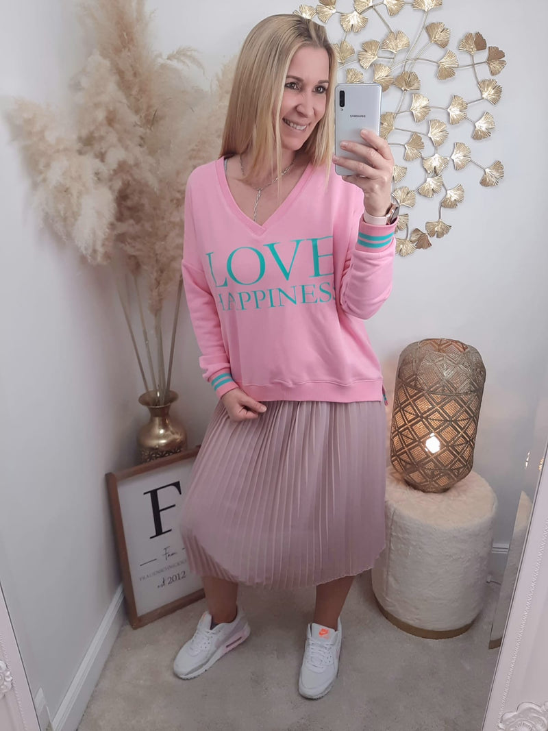 "Sweatshirt V-Neck ""Love Happiness "" pink / mint"