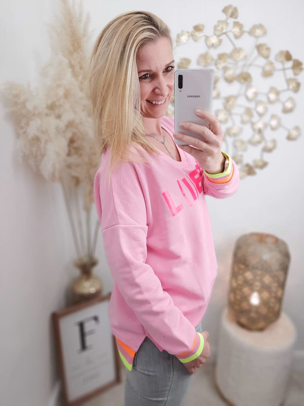 "Sweatshirt V-Neck ""Li(e)be"" · pink / pink"