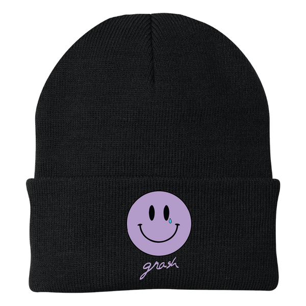 crying smiley beanie