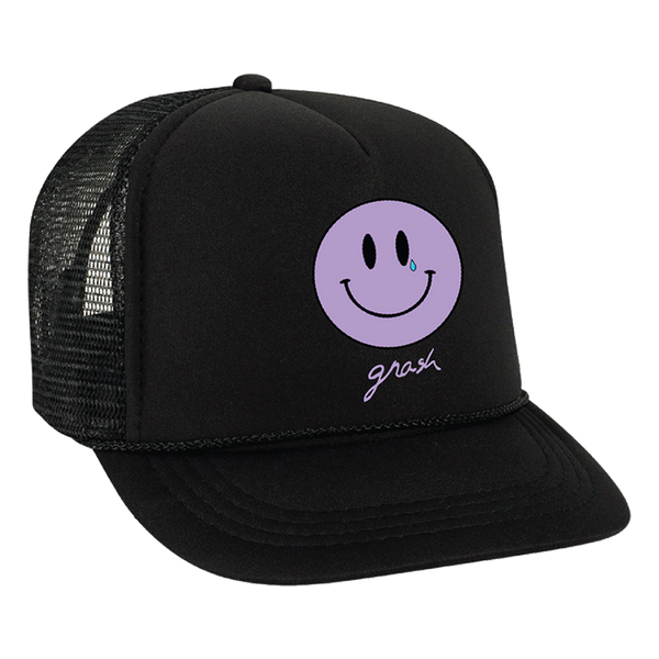 crying smiley trucker hat