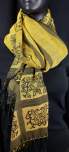 Load image into Gallery viewer, This one of a kind shawl is woven with silk and cotton.  A light weight, elegant shawl for any special occasions. yellow and black