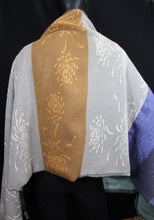 Load image into Gallery viewer, This elegant shawl has two different images. One side has Chrysanthemum pattern and the other side has ginkgo leaves pattern.  It was woven with fine merino wool and silk so it takes a long time to finish this particular shawls. This luxurious shawl will make you feel like the star of the show.