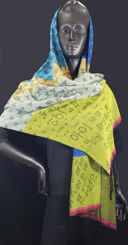 Best versatile accessory that can be worn as shawl, wrap or scarf. Korean characters meet triangles in this shawl. This beautiful shawl is woven with silk and bamboo yarns