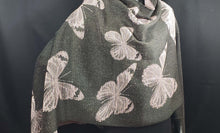 Load image into Gallery viewer, black side of butterfly shawl. best shawl at Bettlehouse