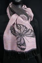 Load image into Gallery viewer, Butterfly shawls yet light enough to use as scarf.