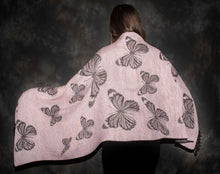 Load image into Gallery viewer, PInk and black butterfly design shawl.  Unique  lightwt and elegant shawl at bettlehouse.