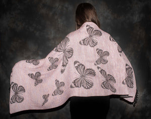 PInk and black butterfly design shawl.  Unique  lightwt and elegant shawl at bettlehouse.