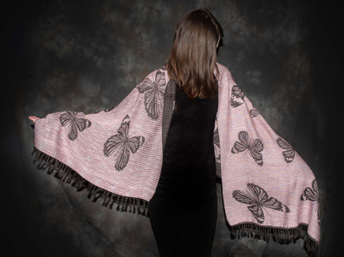 Best  cotton shawl with butterfly pattern, unique design by bettlehouse