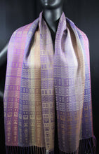 Load image into Gallery viewer, Purples and Beige in this gorgeously rich scarf is hand-woven  at bettlehouse