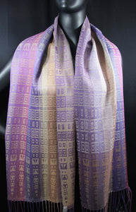 Purples and Beige in this gorgeously rich scarf is hand-woven  at bettlehouse