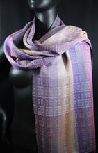 Load image into Gallery viewer, Purples and Beige in this gorgeously rich scarf is hand-woven  at the bettlehouse