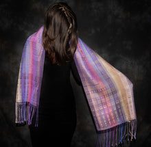 Load image into Gallery viewer, Purples and Beige in this gorgeously rich scarf is hand-woven by Heasoon at the bettlehouse