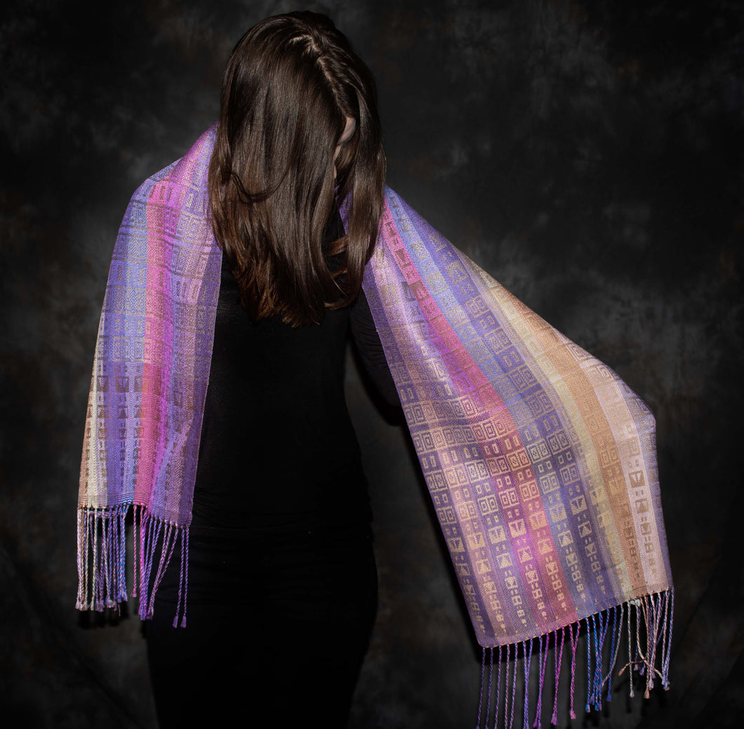 Purples and Beige in this gorgeously rich scarf is hand-woven by Heasoon at the bettlehouse