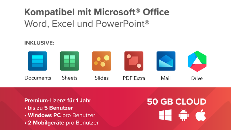 MobiSystems OfficeSuite Group inkl. 50GB Cloud (1 Jahr)