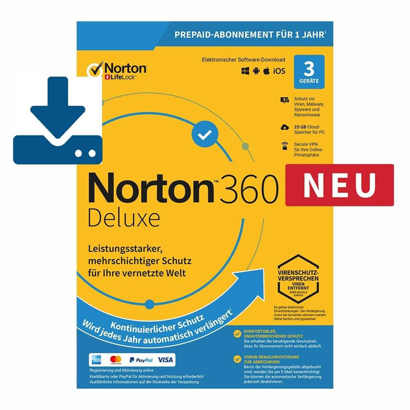 Norton 360 Deluxe 2019/2020 - 3 Geräte 12 Monate 25GB Cloud ESD - Best4software