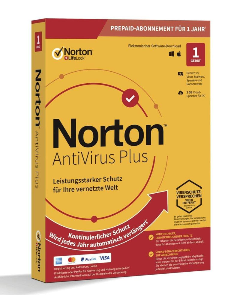 Norton AntiVirus Plus 2019/2020 - 1 Gerät 12 Monate 2GB Cloud ESD - Best4software