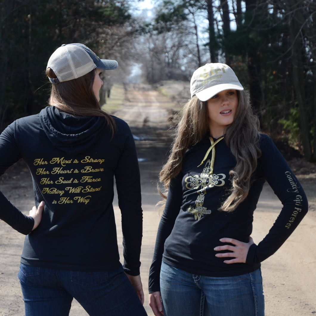 Ladies Long Sleeve Hoodie T-shirt with Gold Bling Cross