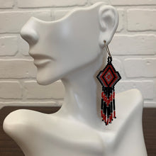 Load image into Gallery viewer, Red, Black and Silver Fringe Hand Woven Earings