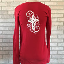 Load image into Gallery viewer, Ladies Long Sleeve Scoop Neck T-Shirt with Bling Cross Logo's-CLEARANCE