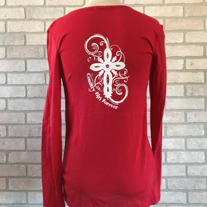 Ladies Long Sleeve Scoop Neck T-Shirt with Bling Cross Logo's-CLEARANCE