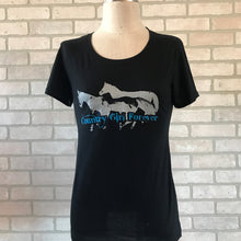 Load image into Gallery viewer, Ladies and Girls Black Fitted Running Horse Logo T-shirts