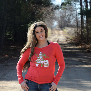 Ladies Long Sleeve Coral T-Shirt with She is Clothed in Strength and Dignity-CLEARANCE