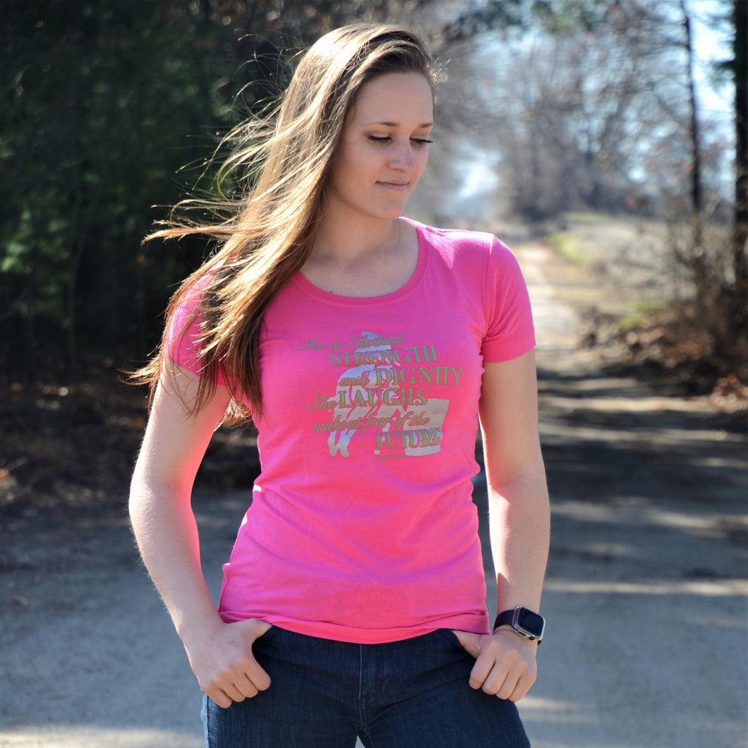 Ladies Hot Pink Strength and Dignity T-Shirt CLEARANCE