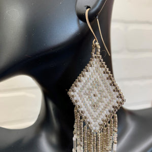 White and Silver Fringe Hand Woven Earings