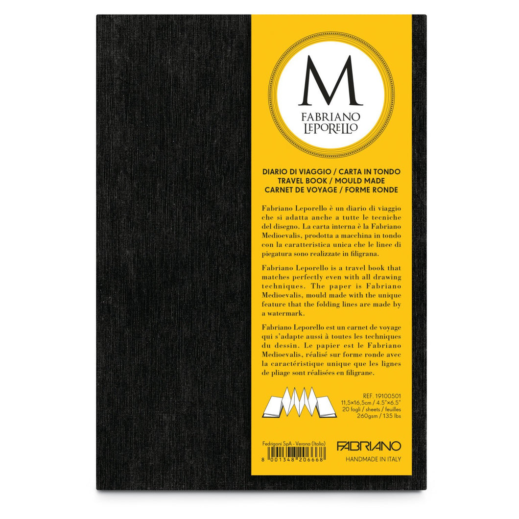 "Fabriano Leporello Travel Journal - 4.5"" x 6.5"" (130lbs./260g.) 20 Sheets"