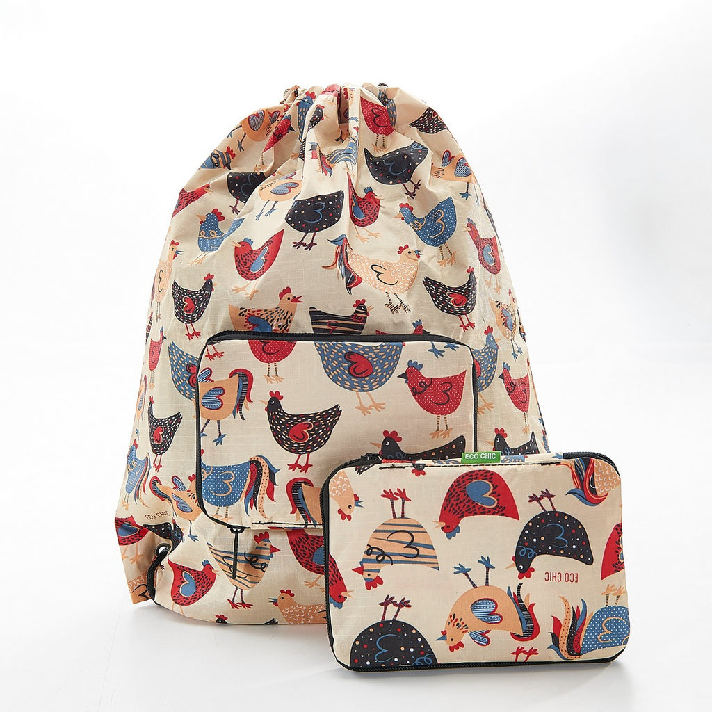 Beige drawstring bag