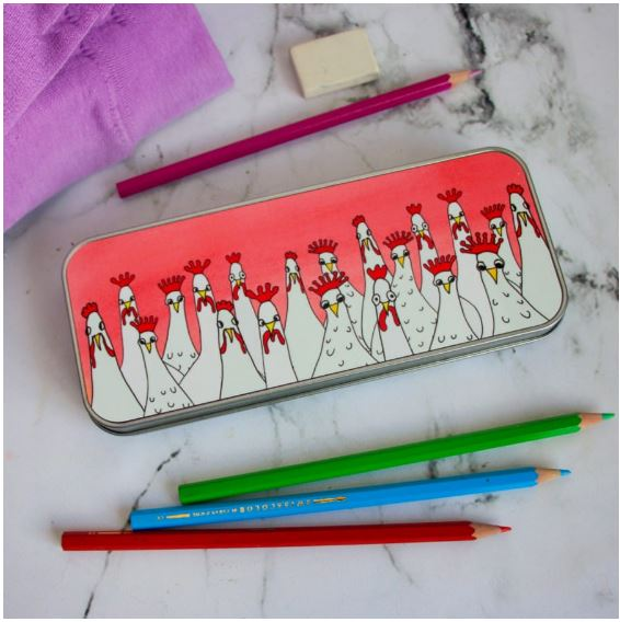 Mad Hens pencil tin