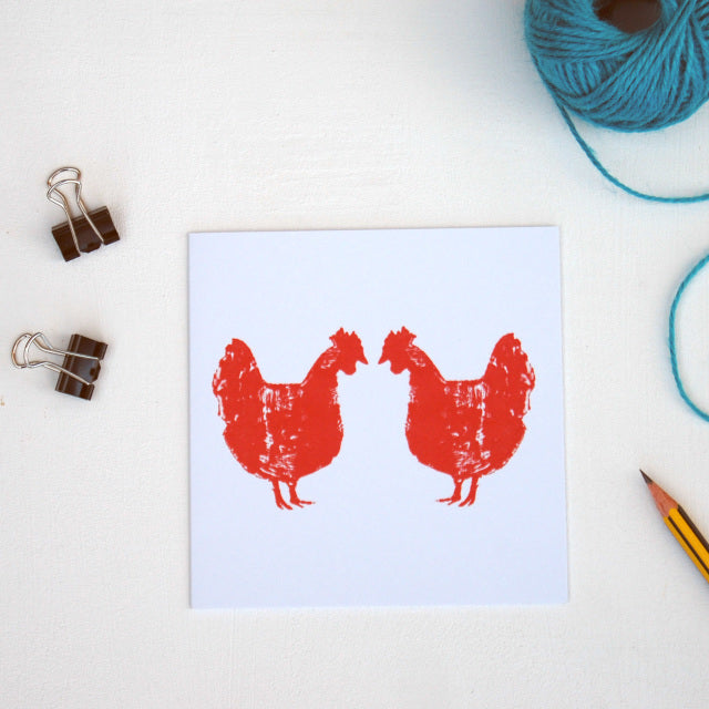 Red Chicken Greetings Card