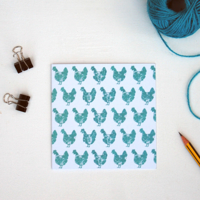 Turquoise Chicken Greetings Card