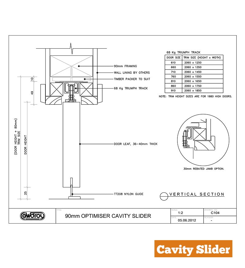 Cavity Slider - Grooved Jamb - 90mm Stud