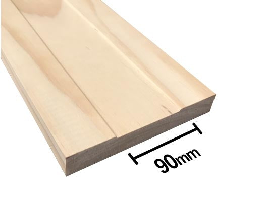 MDF Flush Panel Pine - Double - Flat Jamb - 90mm Stud