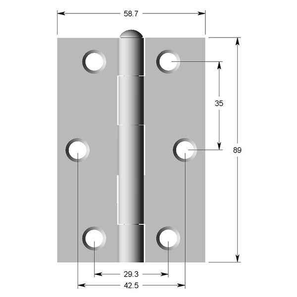 Hinge Steel 89x58x2mm Square Loose Steel Riveted Pin