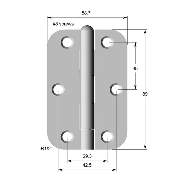 Hinge Steel 89X58X2  1/2 Radius (GREASED PIN)
