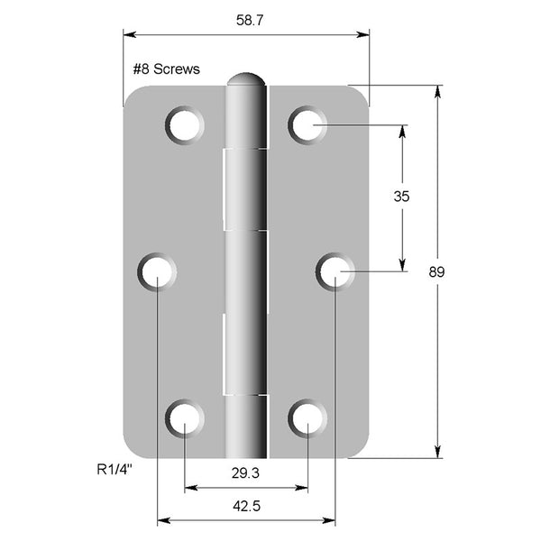 Hinge Steel 89X58X2  1/4 Radius (GREASED PIN)